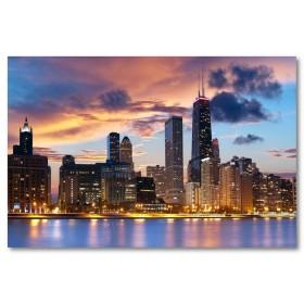 Αφίσα (Chicago, ουρανοξύστες, φώτα, θάλασσα, λιμάνι)